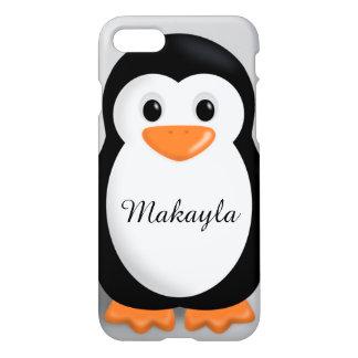 Coque iPhone 7 Nom personnalisé par pingouin mignon de bébé