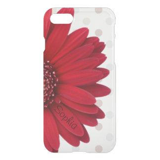 Coque iPhone 7 Nom rouge pâle de coutume de marguerite de point