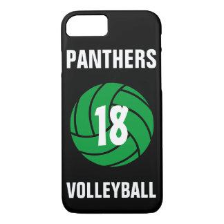 Coque iPhone 7 Nombre de volleyball et caisse verts faits sur