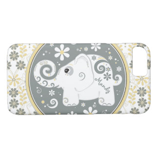 Coque iPhone 7 Objet superflu jaune gris floral