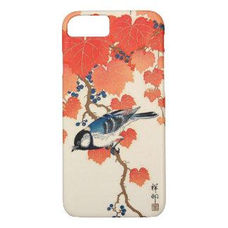 Coque iPhone 7 Oiseau japonais vintage de geai et vigne d'automne