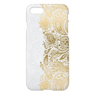 Coque iPhone 7 Or élégant et dentelle florale blanche de Paisley