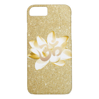 Coque iPhone 7 Or Lotus et scintillement d'or de symbole de l'OM