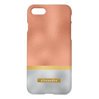 Coque iPhone 7 Or rose d'or à la mode de Faux et aluminium
