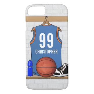 Coque iPhone 7 Orange bleu-clair personnalisée du Jersey | de