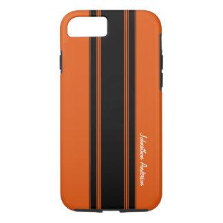 Coque iPhone 7 Orange brûlée moderne emballant des rayures avec