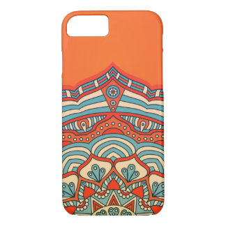 Coque iPhone 7 Orange colored mandala