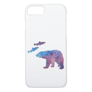 Coque iPhone 7 ours et saumon