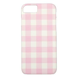 Coque iPhone 7 Pâle - cas rose de l'iPhone 6 de motif de guingan