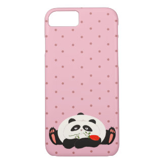 Coque iPhone 7 Panda en pois rose Girly romantique mignon d'amour