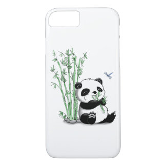 Coque iPhone 7 Panda mangeant le bambou