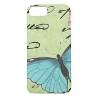 Coque iPhone 7 Papillon Bleu-À ailes sur la carte postale