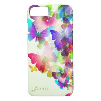Coque iPhone 7 papillons colorés de ressort abstrait avec le nom