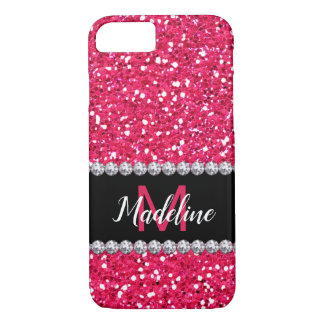 Coque iPhone 7 Parties scintillantes roses, gemmes de diamants,