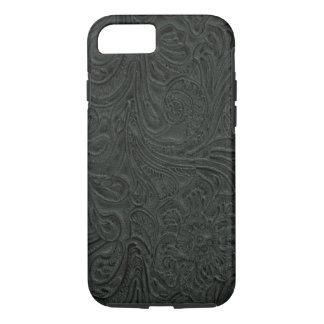 Coque iPhone 7 Pays simili cuir de cowboy usiné par noir