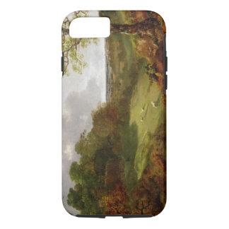 Coque iPhone 7 Paysage boisé avec un cottage, des moutons et un