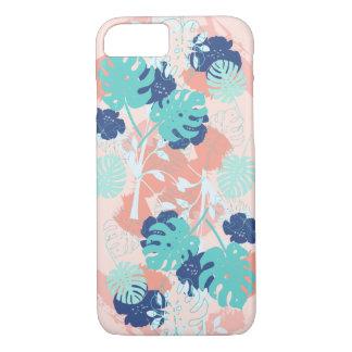 Coque iPhone 7 Pêche/menthe tropicales modernes de motif de