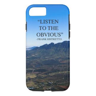 Coque iPhone 7 Photo des montagnes à Stellenbosch avec un qoute.