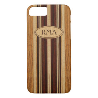 Coque iPhone 7 Planche de surf en bois de monogramme de Koa de