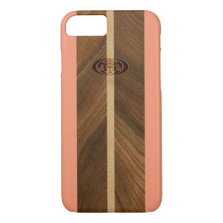 Coque iPhone 7 Planche de surf hawaïenne en bois de Faux de point