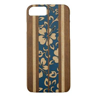 Coque iPhone 7 Planche de surf hawaïenne vintage en bois de Faux