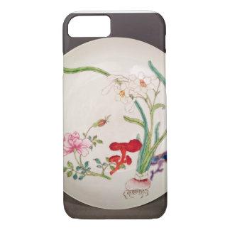 Coque iPhone 7 Plat de porcelaine, décoration rose de famille,