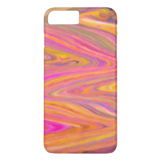 Coque iPhone 7 Plus Abrégé sur rose, jaune et violet rayure de zigzag