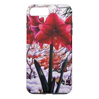 Coque iPhone 7 Plus Amaryllis par la fenêtre de neige