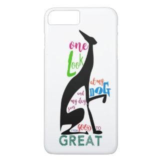 Coque iPhone 7 Plus Amour italien de silhouette de lévrier mon chien