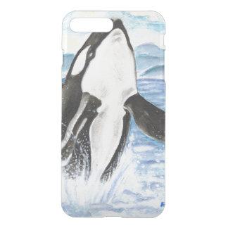 Coque iPhone 7 Plus Aquarelle ouvrant une brèche la baleine d'orque