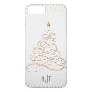 Coque iPhone 7 Plus Arbre de Noël en filigrane d'or de monogramme