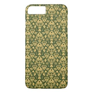 Coque iPhone 7 Plus Arrière - plan floral en bois de motif de damassé