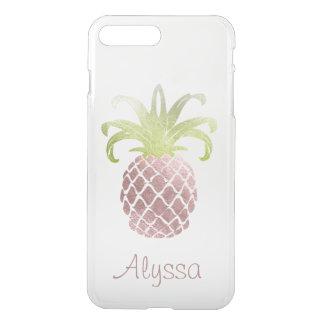Coque iPhone 7 Plus Arrière - plan rose de l'or Pineapple/DIY de Faux