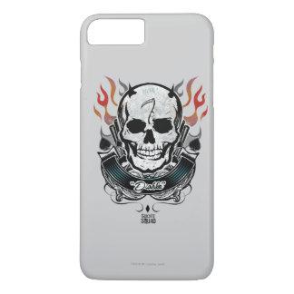 Coque iPhone 7 Plus Art de tatouage de crâne et de flammes du peloton