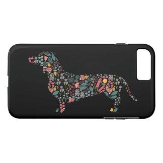 Coque iPhone 7 Plus Art floral d'aquarelle de motif de chien de
