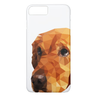 Coque iPhone 7 Plus Bas poly art de golden retriever