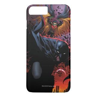 Coque iPhone 7 Plus Batman et vol de Robin au-dessus de Gotham