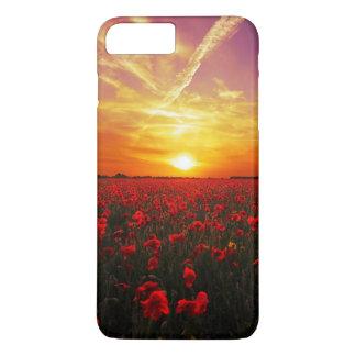 Coque iPhone 7 Plus Beau coucher du soleil rouge de gisement de fleur