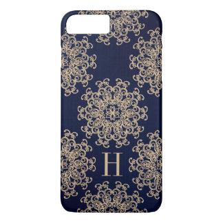 Coque iPhone 7 Plus Bleu marine de monogramme et médaillon exotique