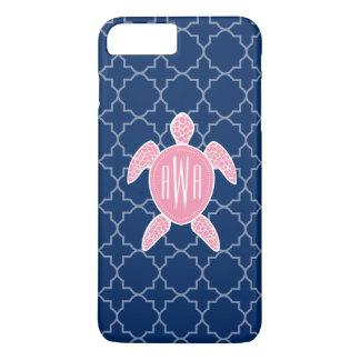 Coque iPhone 7 Plus Bleu rose décoré d'un monogramme Quatrefoil de