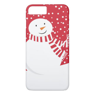 Coque iPhone 7 Plus bonhomme de neige contemporain moderne d'hiver