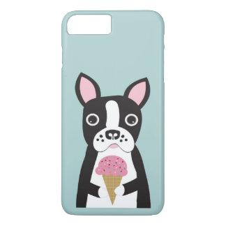 Coque iPhone 7 Plus Boston Terrier et crème glacée