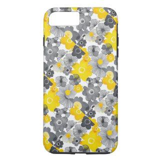 Coque iPhone 7 Plus Caisse florale jaune et grise de téléphone