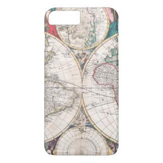 Coque iPhone 7 Plus Carte antique du monde de Double-Hémisphère