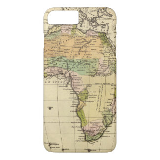 Coque iPhone 7 Plus Carte d'atlas couleur de main de l'Afrique