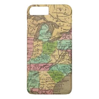 Coque iPhone 7 Plus Carte d'atlas couleur de main des USA, Canada