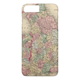 Coque iPhone 7 Plus Carte de l'Angleterre, Pays de Galles par Mitchell