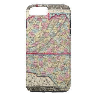 Coque iPhone 7 Plus Carte du comté de la Virginie, et de la Caroline
