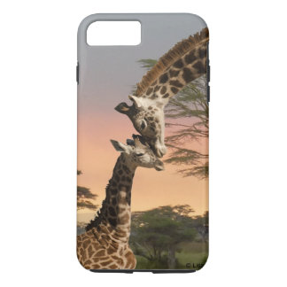 Coque iPhone 7 Plus Cas dur plus de l'iPhone 7 de girafe de mère et de
