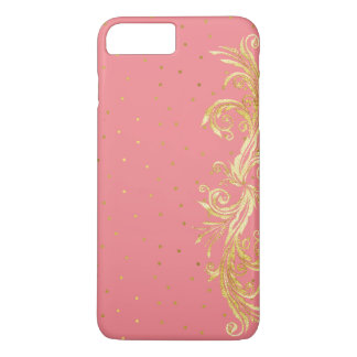 Coque iPhone 7 Plus Cas plus de l'iPhone chic 7 de rose et d'or